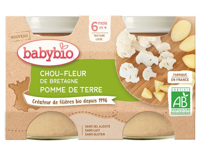 BABYBIO Mes Légumes - 2x130g Chou Fleur de Bretagne Pomme de Terre - 6 mois