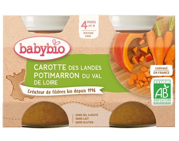 BABYBIO Mes Légumes - 2x130g Carotte - Potimarron - 4 mois