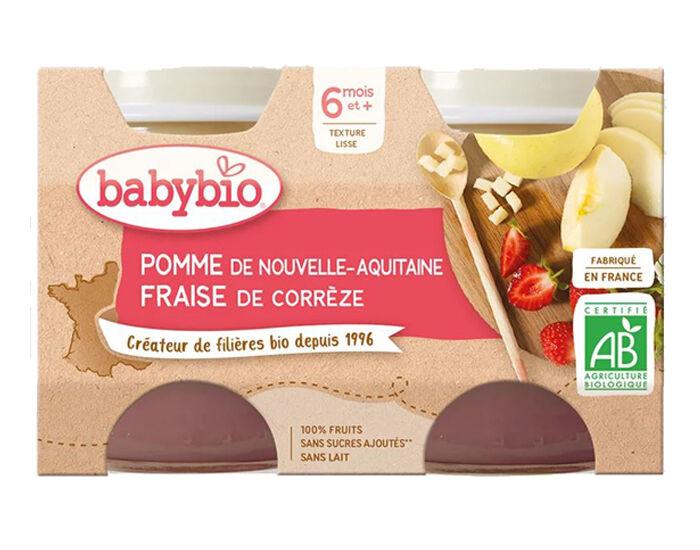 BABYBIO Mes Fruits - 2 x 130 g Pomme d'Aquitaine et Fraise de Corrèze - 6 mois