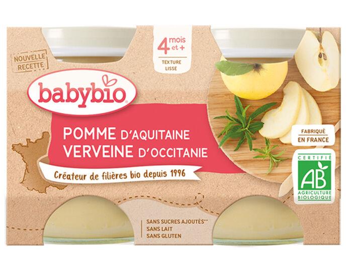 BABYBIO Mes Fruits - 2 x 130 g Pomme d'Aquitaine et Verveine - 4 mois