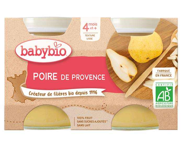 BABYBIO Mes Fruits - 2 x 130 g Poire de Provence - 4 mois