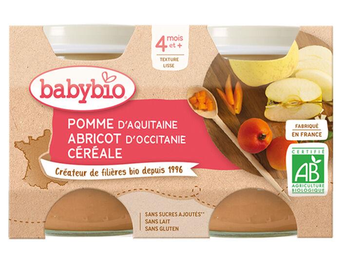 BABYBIO Mes Fruits - 2 x 130 g Pomme d'Aquitaine Abricot et Céréale - 4 mois