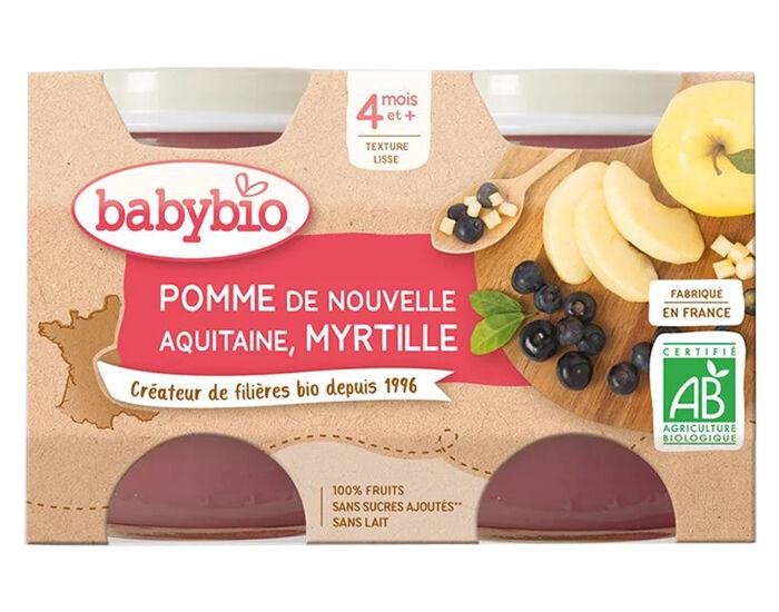 BABYBIO Mes Fruits - 2 x 130 g Pomme d'Aquitaine et Myrtille - 4 mois