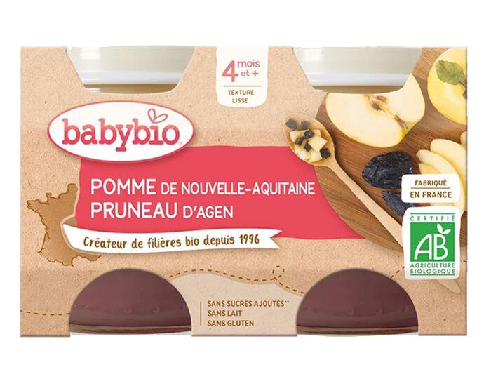 BABYBIO Mes Fruits - 2 x 130 g Pomme d'Aquitaine et Pruneau d'Agen - 4 mois