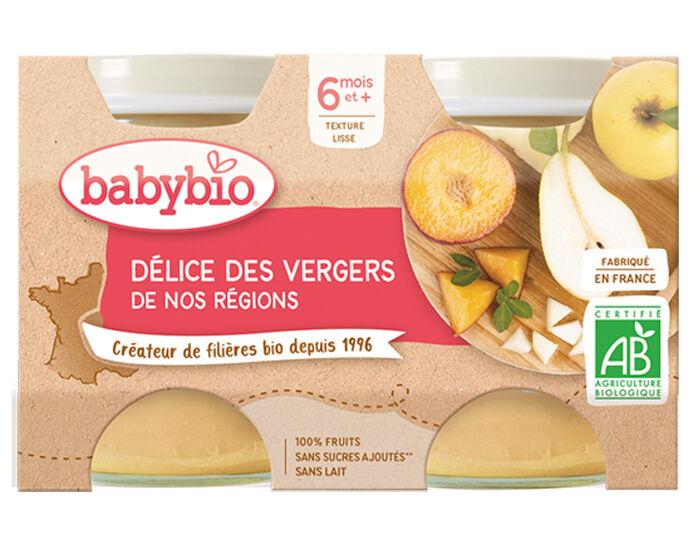 BABYBIO Mes Fruits - 2 x 130 g Délices des Vergers - 4 mois
