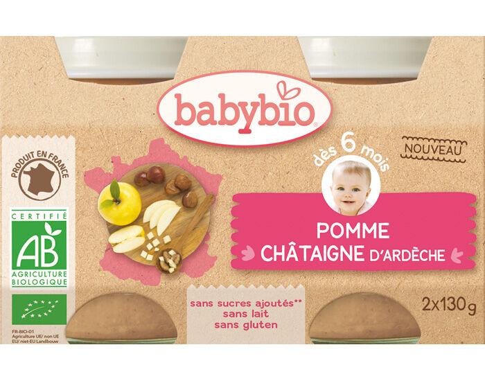 BABYBIO Mes Fruits - 2 x 130 g Pomme Châtaigne d'Ardèche - 6 mois
