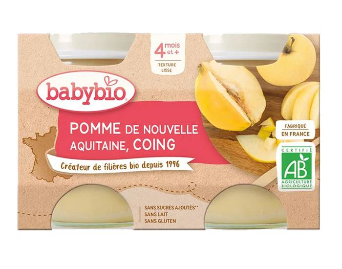 BABYBIO Mes Fruits - 2 x 130 g Pomme d'Aquitaine et Coing - 4 mois