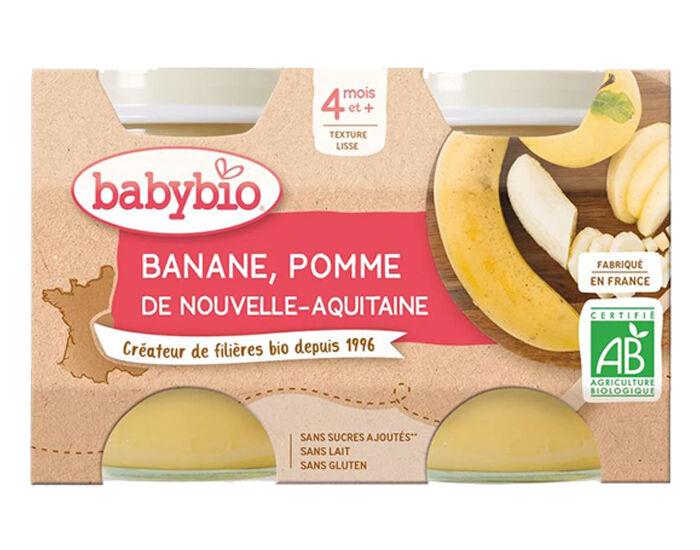 BABYBIO Mes Fruits - 2 x 130 g Pomme d'Aquitaine et Banane - 4 mois