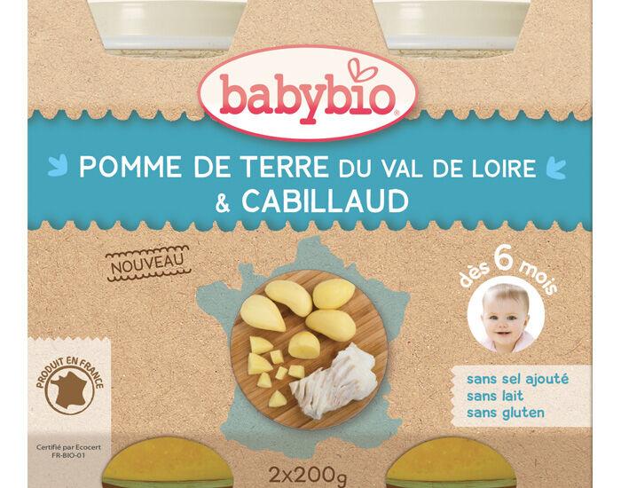 BABYBIO Petits Pots Menu du Jour - 2 x 200g - Dès 6 Mois Pommes de Terre Cabillaud Sauvage