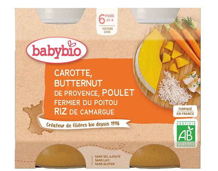 BABYBIO Petits Pots Menu du Jour - 2 x 200g - Dès 6 Mois Carotte Butternut Poulet Riz