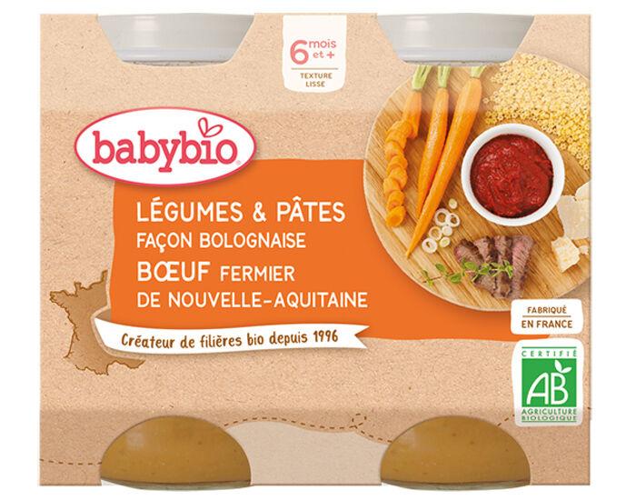 BABYBIO Petits Pots Menu du Jour - 2 x 200g - Dès 6 Mois Légumes Pâtes Bolognaise Boeuf