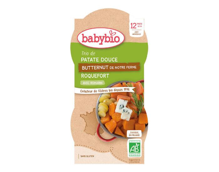 BABYBIO Bols Menu Mes Légumes - 2x200g  Trio de Patate Douce Butternut de Provence Roquefort - Dès 12 mois