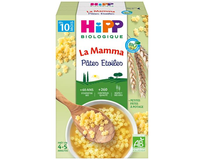 HIPP La Mamma Pâtes Étoiles pour Bébé - 320g - Dès 10 mois