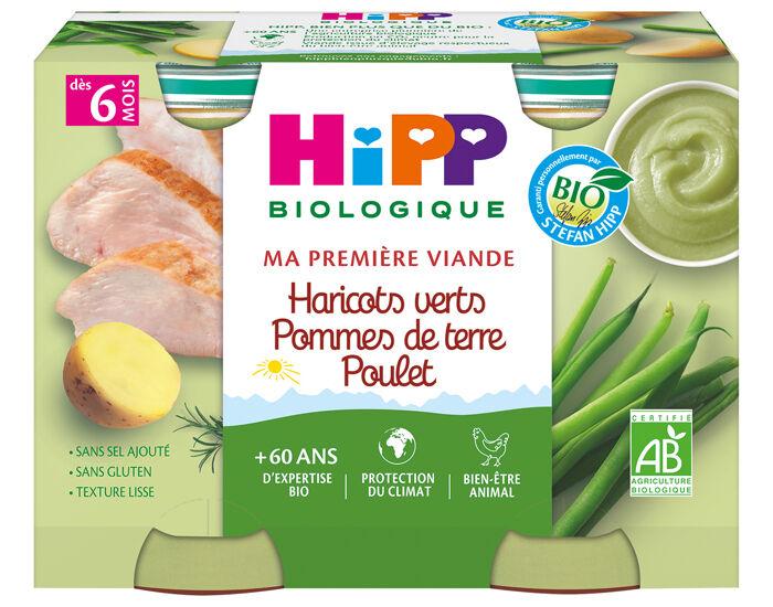 HIPP Ma Première Viande -  2 x 190 g Haricot vert - Pomme de terre - Poulet - 6M