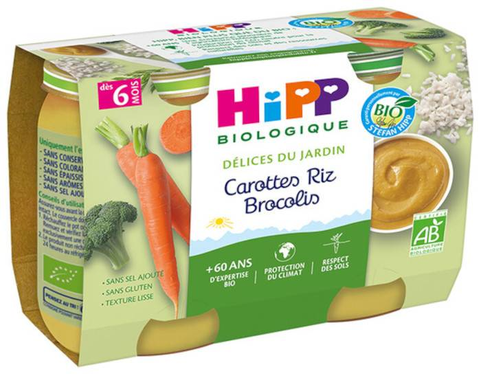 HIPP Mes premiers Légumes - 2 x 190 g Carottes - Riz - Brocolis - 6M