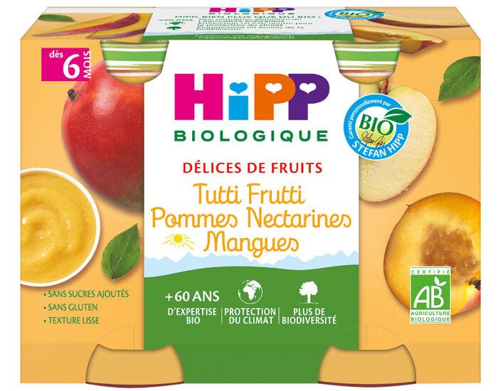 HIPP Délices de Fruits - 2 x 190g Tutti Frutti Pommes Nectarines Mangues - 6 M