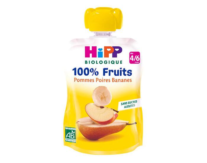 HIPP Gourde 100% Fruits - Dès 4 Mois - 90g Pomme Poire Banane