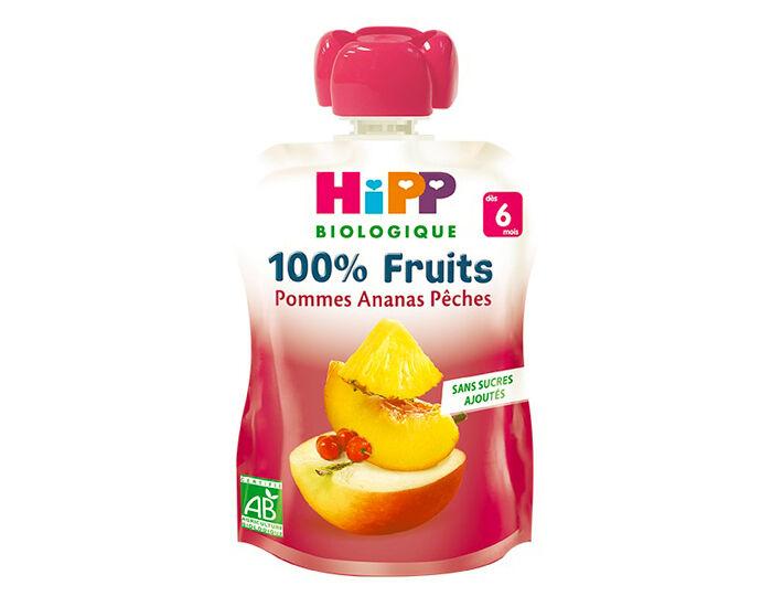 HIPP Gourde 100% Fruits - Dès 6 Mois - 90g Pomme Ananas Pêche