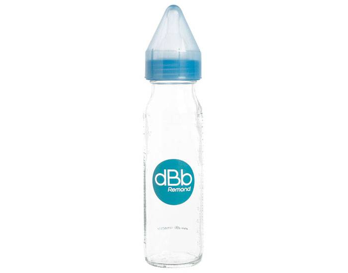 DBB REMOND Biberon en Verre 240 ml - Tétine Silicone Bleu