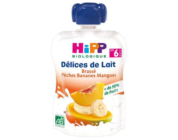 HIPP Délice de Lait Gourde Brassée - 90 g - Dès 6 mois Pêche Banane Mangue
