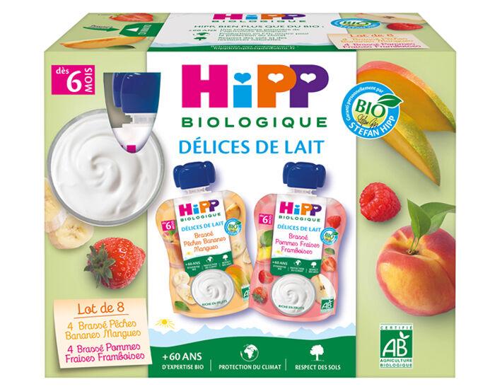 HIPP Délice de Lait Gourdes Multipack Brassées - 8 x 100 g - Dès 6 mois