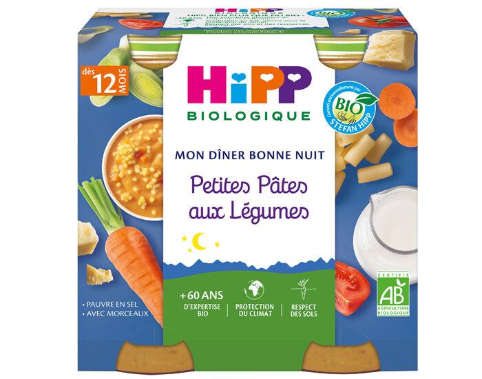 HIPP Mon Diner Bonne Nuit - 2 x 250 g Petites pâtes aux légumes - 12M