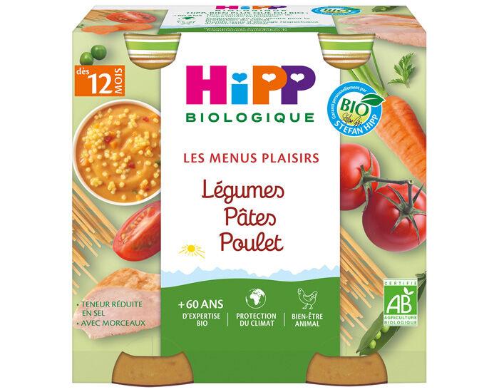 HIPP Les Menus Plaisirs - 2 x 250 g Légumes - Pâtes - Poulet - 12M