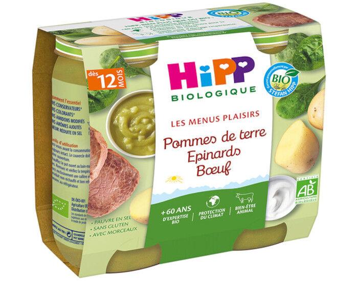 HIPP Les Menus Plaisirs - 2 x 250 g Epinard - Pomme de terre - Boeuf - 12M