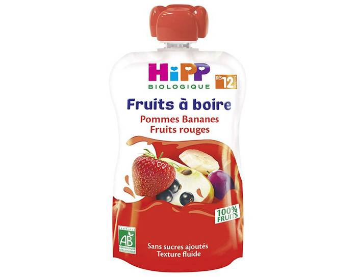 HIPP Gourdes Fruits à Boire - Dès 12 mois Pommes Bananes Fruits Rouges