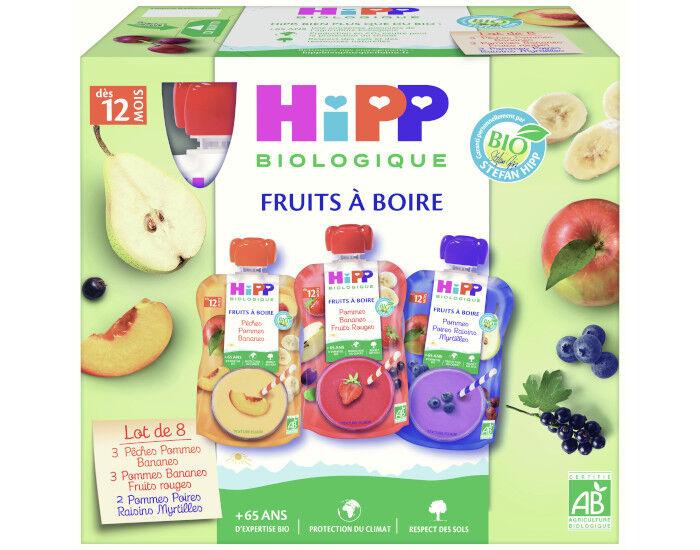 HIPP Gourdes Fruits à Boire Multipack 3 Variétés - 8 x 120 ml - Dès 12 mois