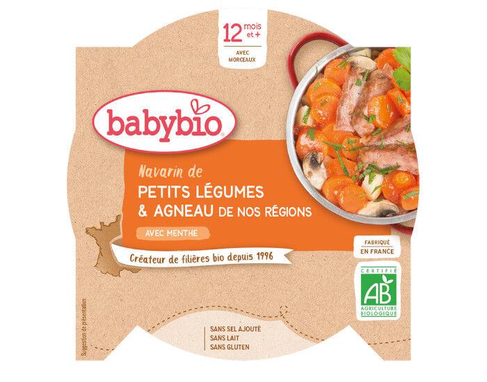 BABYBIO Mon p'tit Plat Assiette - 230 g ou 260 g Navarin de Petits Légumes et d'Agneau Français - 12 M