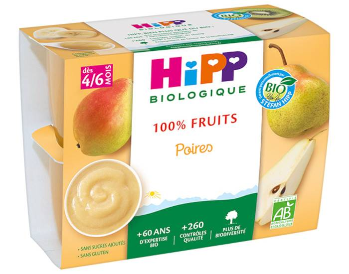 HIPP 100% Fruits - 4 x 100 g Poires - 4M