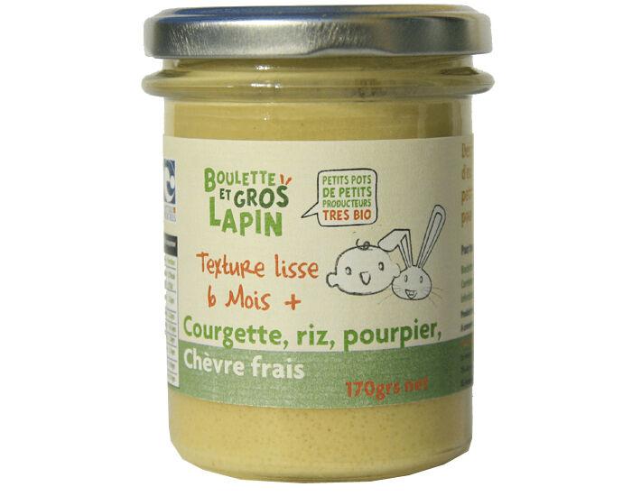 BOULETTE ET GROS LAPIN Petit Pot Courgette, Chèvre frais, Riz et Pourpier - Dès 6 mois - 170 g