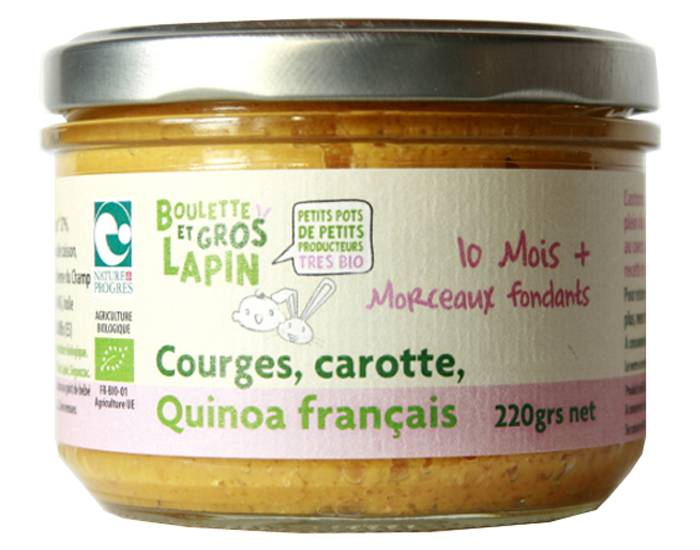 BOULETTE ET GROS LAPIN Petit Pot Courges Carotte Quinoa - Dès 10 mois - 220 g