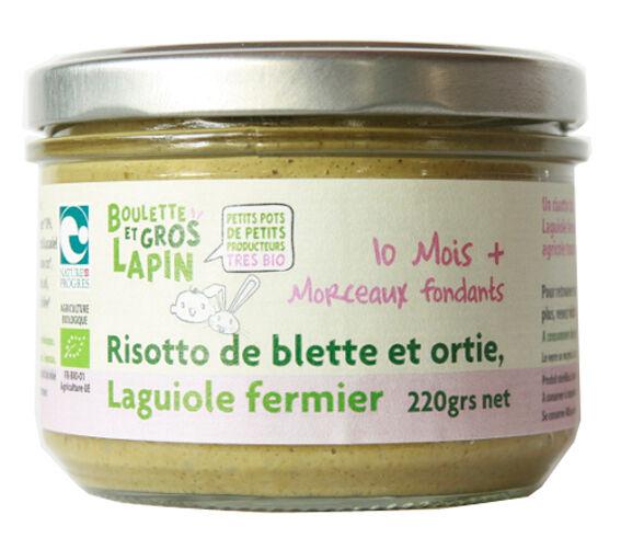 BOULETTE ET GROS LAPIN Petit Pot Risotto Blette Ortie au Laguiole Fermier - Dès 10 mois - 220 g