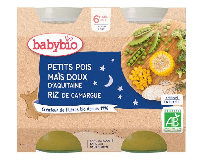 BABYBIO Petits Pots Bonne Nuit - 2x200g - Dès 6 mois Petits Pois et Maïs doux d'Aquitaine - Riz - 6 M