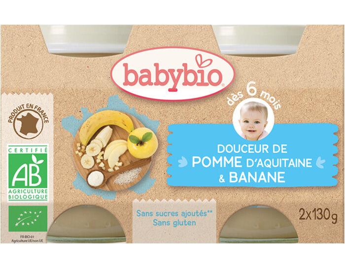 BABYBIO Crème aux Fruits - 2 x 130 g - Dès 6 mois Pomme d'Aquitaine et Banane - 6 mois
