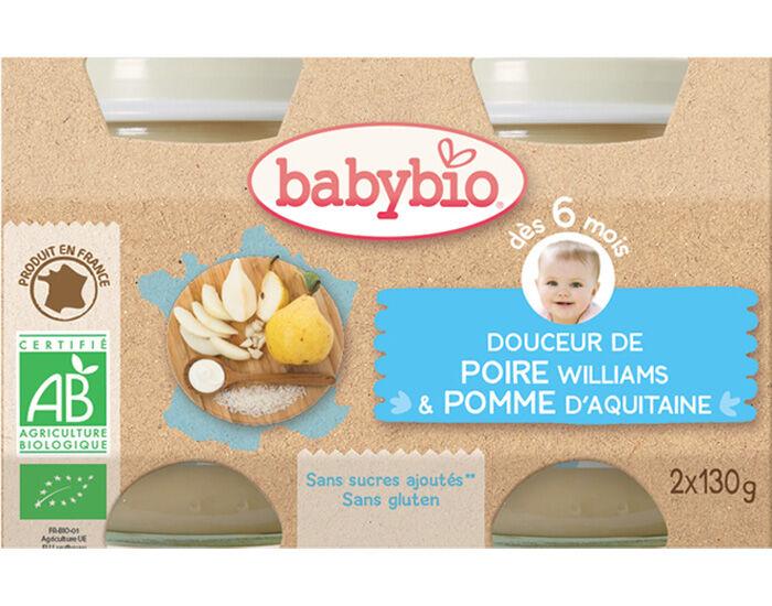 BABYBIO Crème aux Fruits - 2 x 130 g - Dès 6 mois Poire Williams et Pomme d'Aquitaine - 6 mois