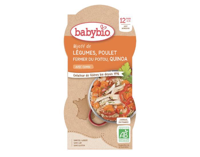 BABYBIO Bols Menu du Jour - 2 x 200 g Mijoté de Légumes Poulet fermier du Poitou et Quinoa - 12 Mois