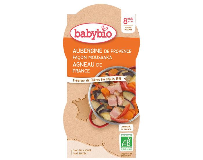 BABYBIO Bols Menu du Jour - 2 x 200 g Aubergines Façon Moussaka d'Agneau - 8 Mois