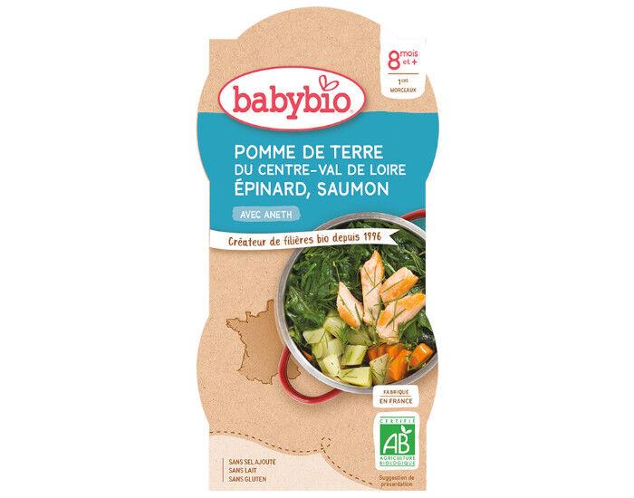 BABYBIO Bols Menu du Jour - 2 x 200 g Pomme de Terre - Épinards - Saumon - 8 Mois