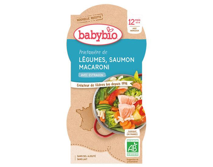 BABYBIO Bols Menu du Jour - 2 x 200 g Printanière de Légumes, Saumon et Macaroni - 12 Mois