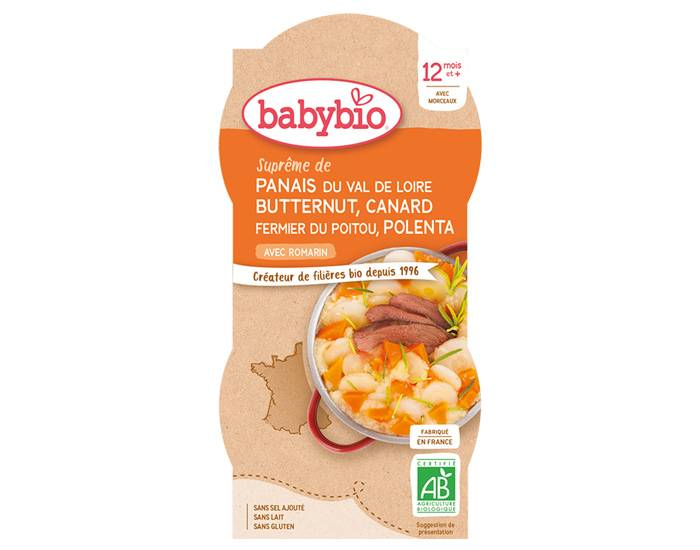 BABYBIO Bols Menu du Jour - 2 x 200 g Panais Courge Canard Polenta - 12mois