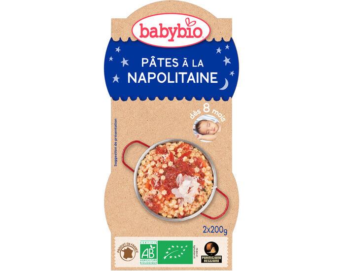 BABYBIO Bols Bonne Nuit - 2 x 200 g Pâtes à la Napolitaine au Parmesan - 8 mois