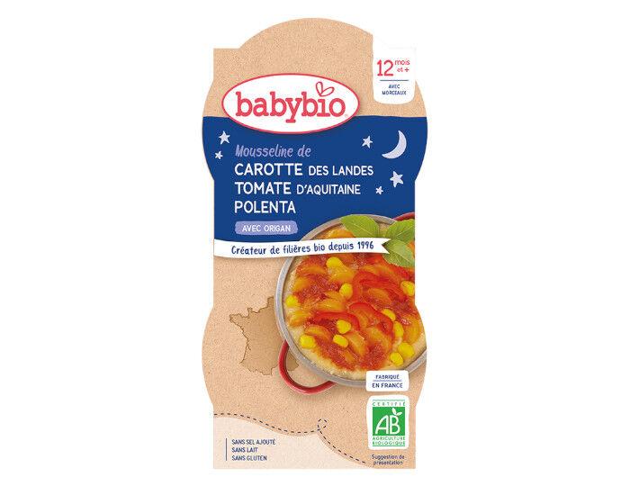 BABYBIO Bols Bonne Nuit - 2 x 200 g Carotte Tomate Polenta - Dès 12 mois