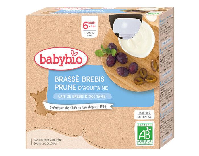 BABYBIO Gourdes Brassé au Lait de Brebis d'Occitanie - 4x85 g - Dès 6 mois Prune d'Aquitaine