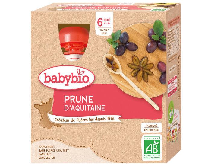 BABYBIO Gourdes - 4x90g - Dès 6 mois Prune