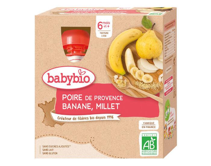 BABYBIO Gourdes - 4x90g - Dès 6 mois Poire - Banane - Millet