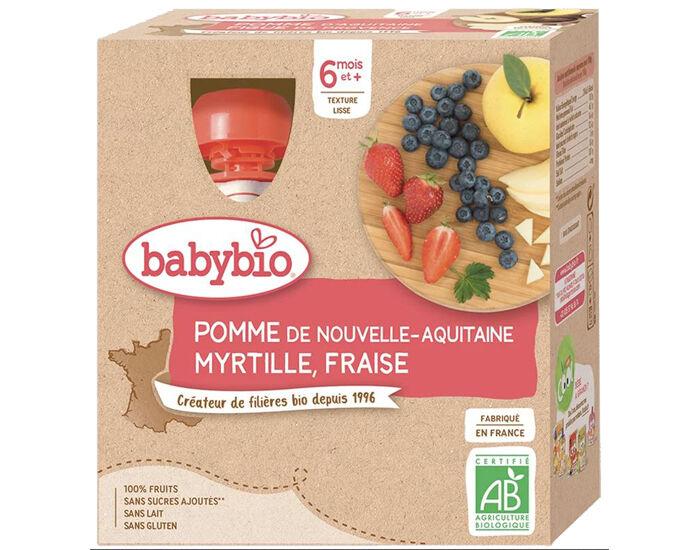 BABYBIO Gourdes - 4x90g - Dès 6 mois Pomme - Myrtille - Fraise