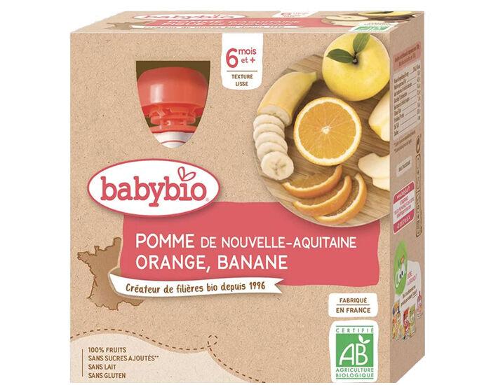 BABYBIO Gourdes - 4x90g - Dès 6 mois Pomme - Orange - Banane